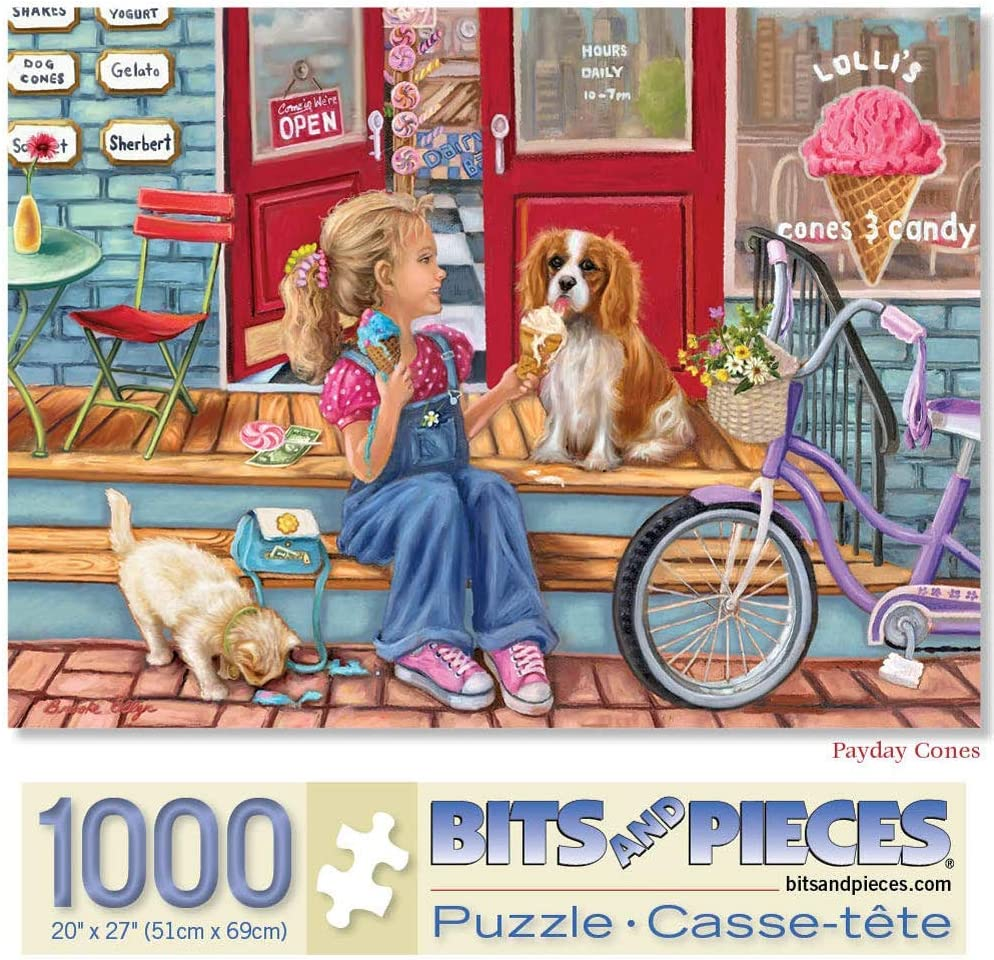 Payday Cones 1000 pc Outdoor Summer Time Girl Dog Ice Cream Bike Shop Cat Jigsaw by Artist Brooke Faulder 1000 Piece Jigsaw Puzzle for Adults 20 X 27/ Bits and Pieces