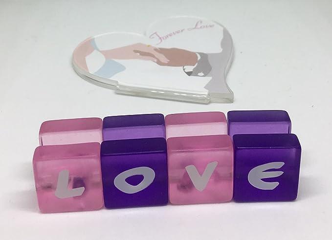 2 acrílico pequeño amor titulares de tarjetas de lugar/marcos de fotos p13l20 - 2p02: Amazon.es: Hogar