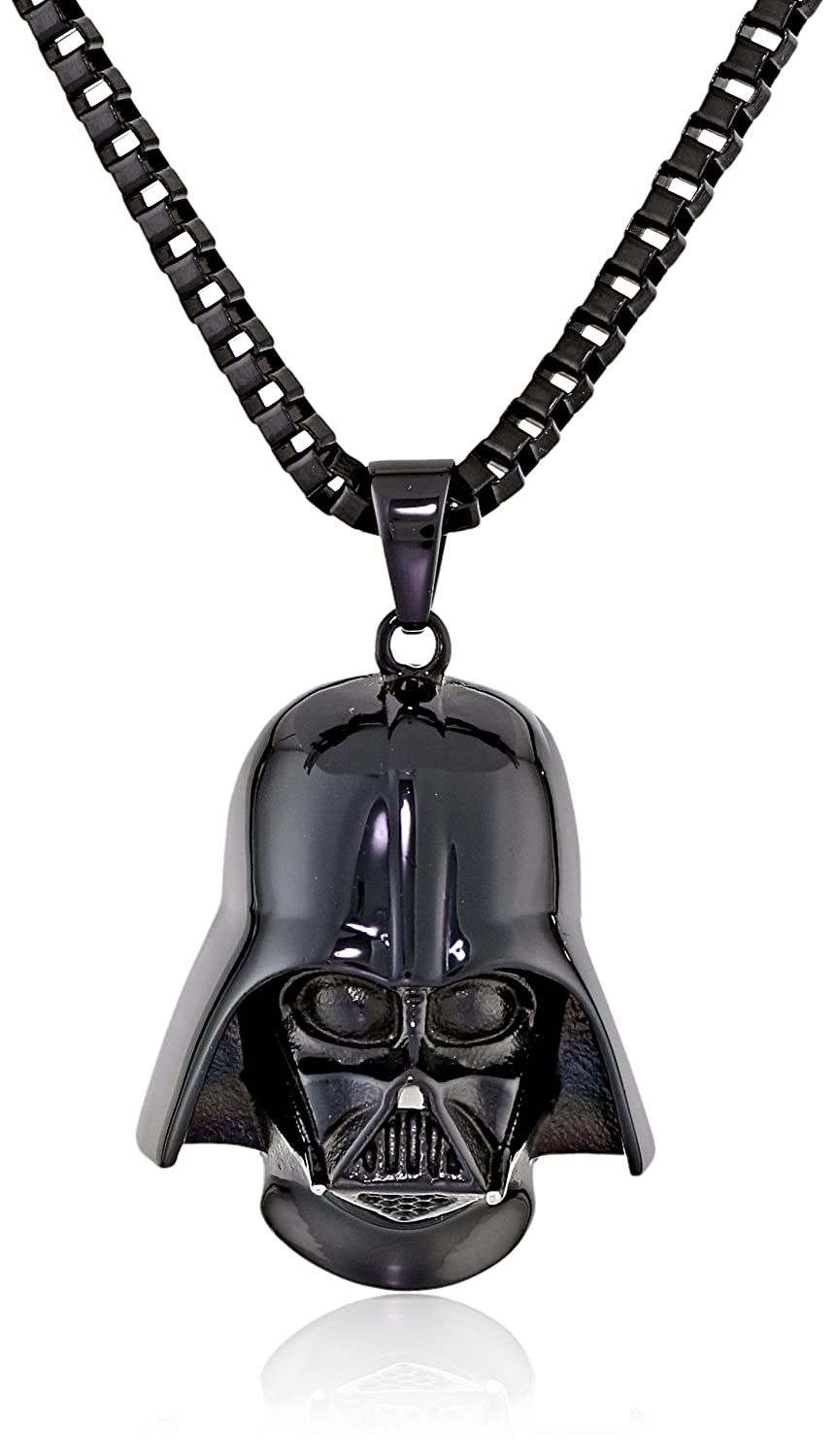 Star Wars Jewelry Unisex 3D Darth Vader Black Ion-Plated Stainless Steel Pendant Necklace, 24 24 Salesone International SWDV3DPNK01