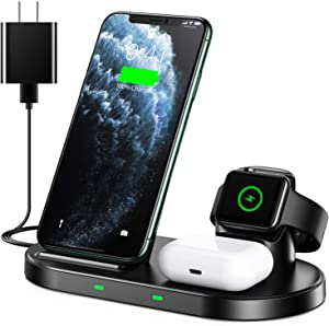 WAITIEE Wireless Charger 3 in 1 Stand for iPhone Apple iWatch Series 6/5/4/3/2/1 AirPods pro, QI Phone Charger 15W Fast Charging Dock iPhone 12/11/11Pro/ 11 Pro Max/XS/XR/X/8/8 Plus/Samsung/Google