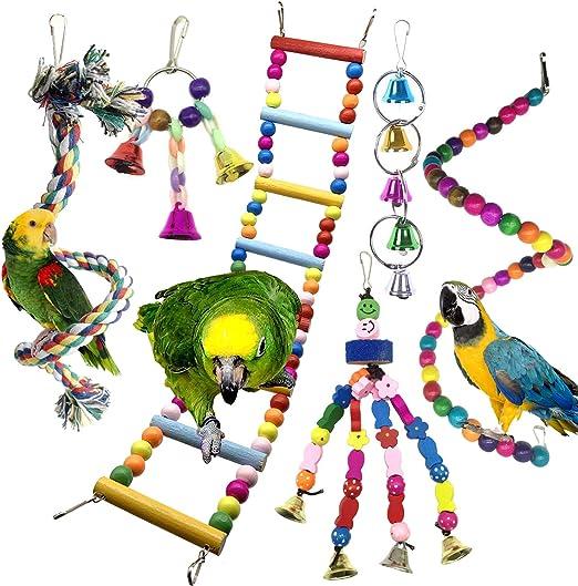 Juguetes para Pájaros, PietyPet 6 Piezas Pájaros Juguetes con Campanas, Escalera de madera, Colorido Columpio Juguetes, Hamaca de Madera, Que cuelga la Perca Juguete para Pájaros, Loros: Amazon.es: Productos para mascotas