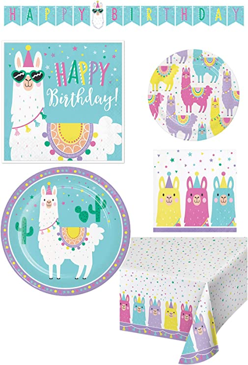 16 Llama /& Cactus Lunch Napkins Table Decorations Colorful Dinner Birthday Party