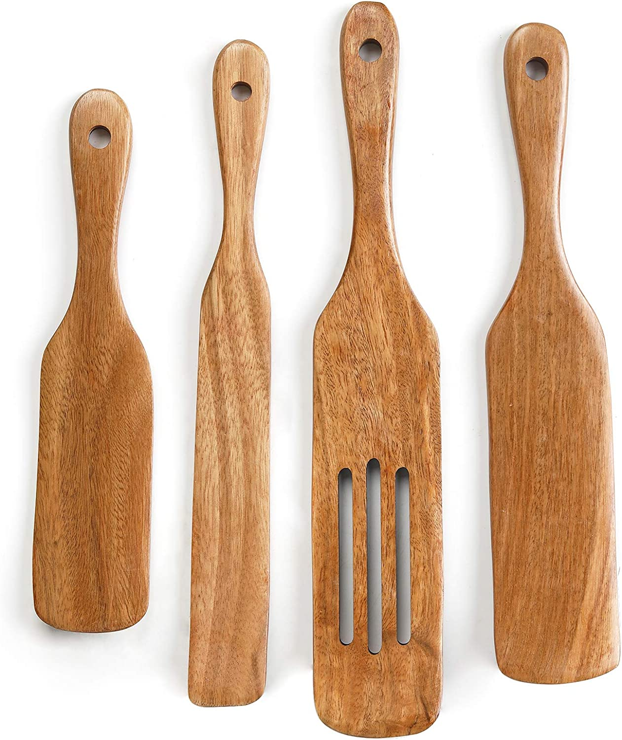 Spurtles Kitchen Tools, Acacia Wood Spurtles Kitchen Set,Wood Cooking Utensil, 100% Healthy Hard and Durable Wood Kitchen Utensils For Salad Stir, Cake Make and Pan-Fried Steak