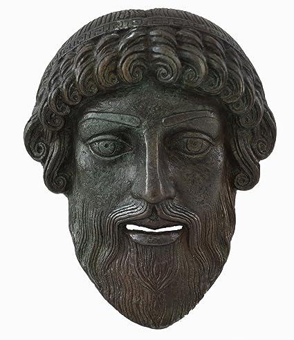 Poseidon pequeño máscara con – color efecto de bronce antiguo teatro griego – dios de la