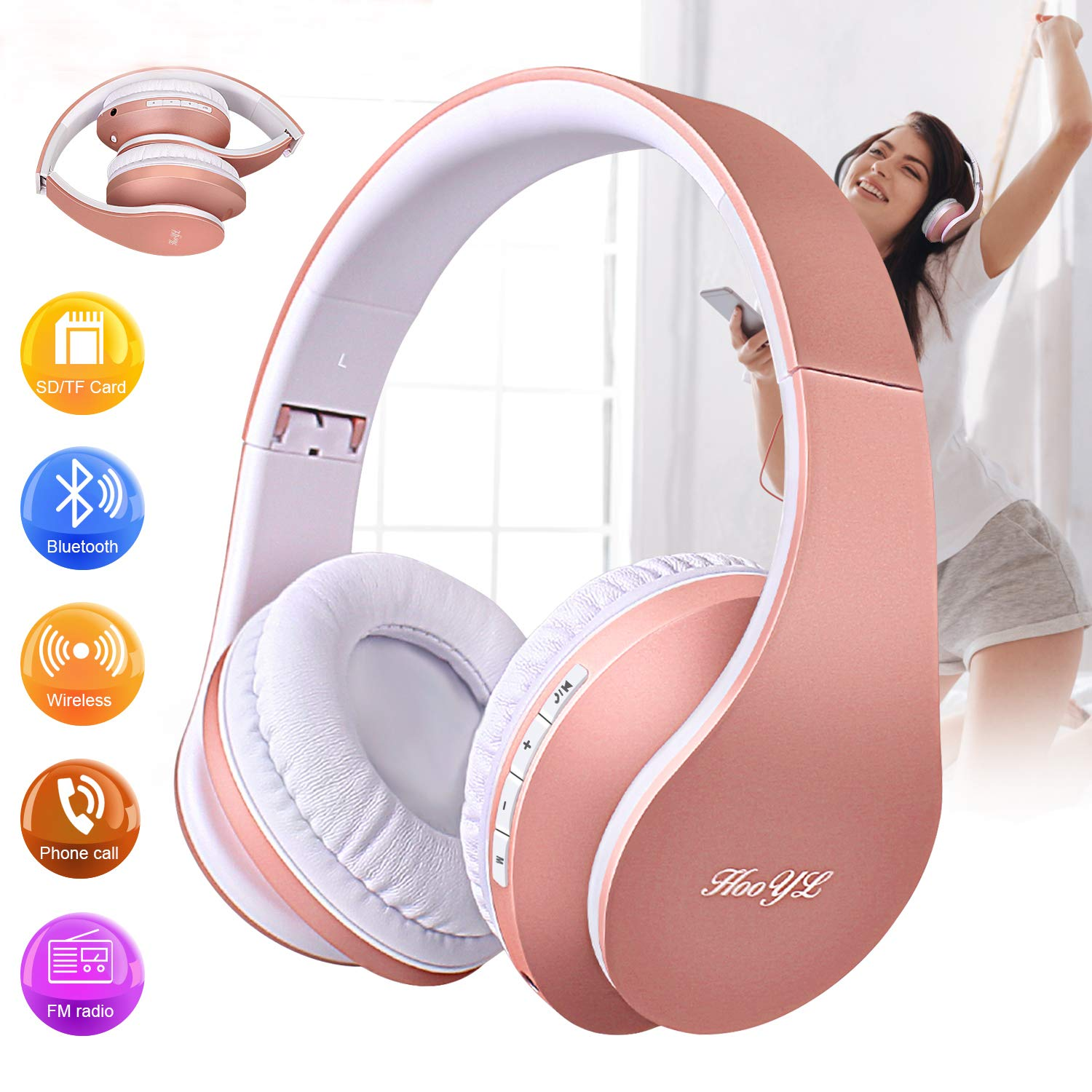Over Ear Headphones, Bluetooth Wireless Headphone Rose Gold with Mic Foldable Earmuffs Headsets Hi-Fi Stereo Headset Wired and Wireless Mode for Girl Women Cell Phone iPhone Laptop TV PC Computer