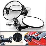 "2x Black 3"" Round 7/8"" Handlebar Bar End Blindsight Rearview Side Mirror For Sport Bike Honda NSR 125 RC 51"