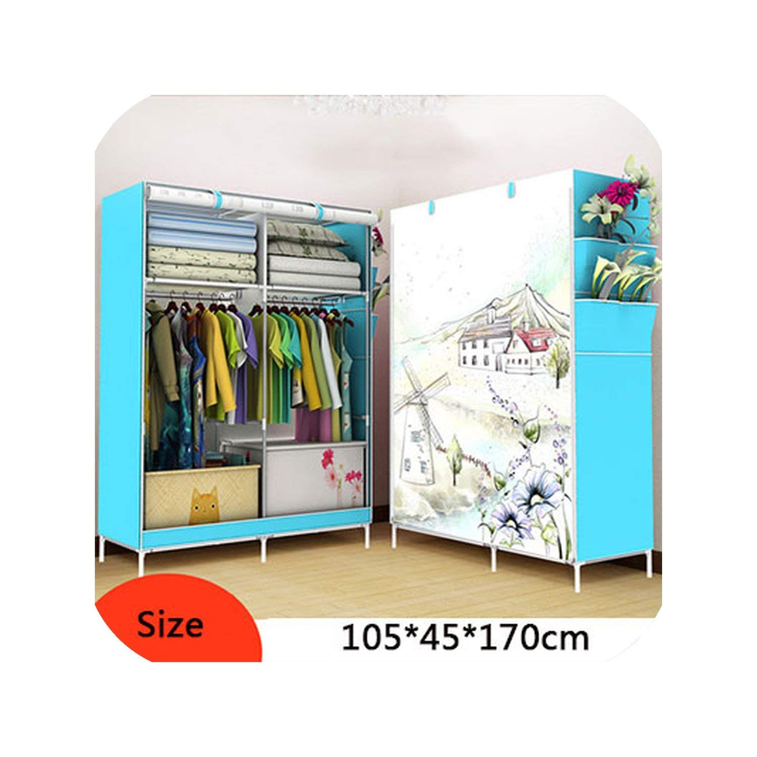 Simple Non-Woven Cloth Folding Wardrobe DIY Assembly Bedroom Clothes Storage Cabinet Panoramic Pattern Large Wardrobe Closet,Color 5