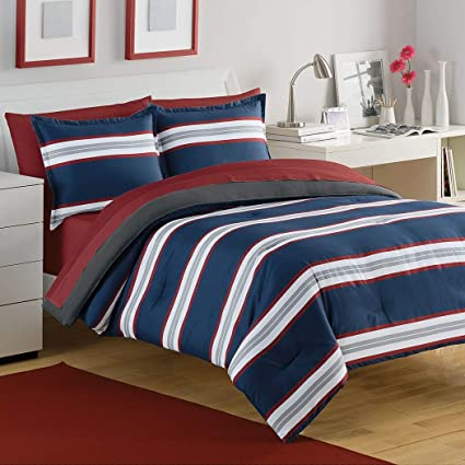 Amazoncom 3 Piece Navy Blue White Grey Red Rugby Stripes Comforter