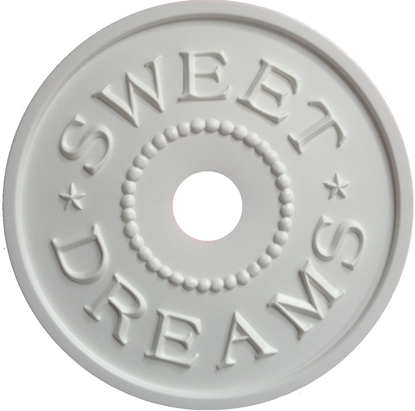 Marie Ricci Nursery Decor, Sweet Dreams Ceiling Medallion, Prime and Paint Yourself is cast in polypropylene, NO PVC. Made in USA