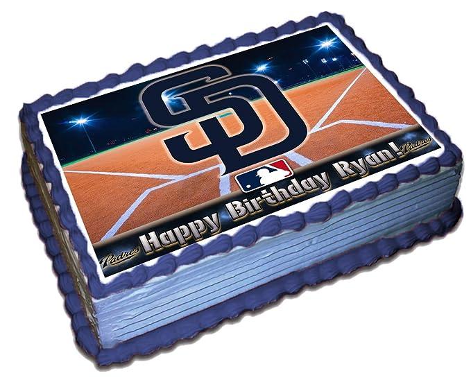 Terrific San Diego Padres Mlb Personalized Cake Topper Icing Sugar Paper 1 Funny Birthday Cards Online Elaedamsfinfo