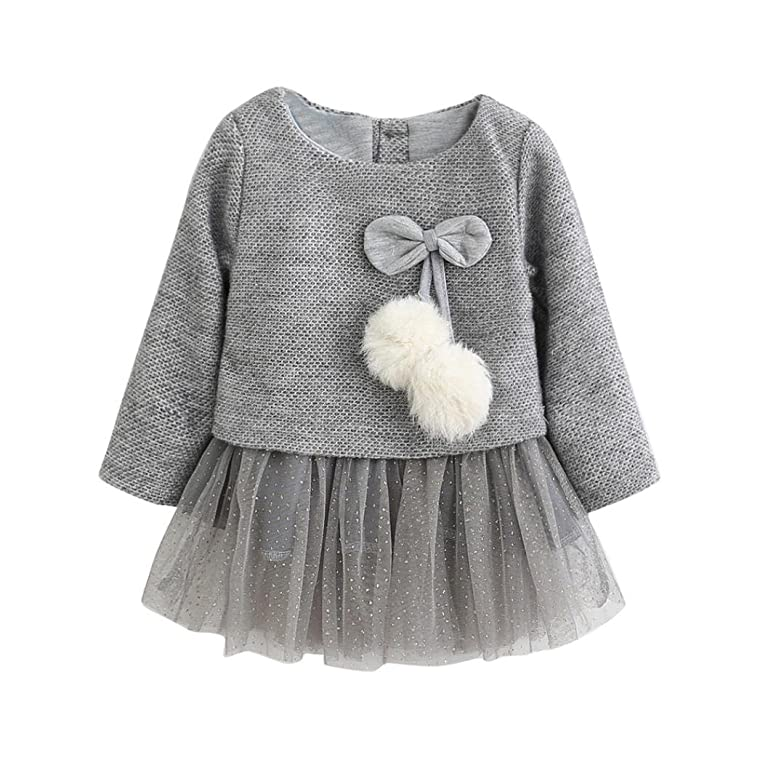 Palarn Lovely Toddler Baby Girls Long Sleeve Knitted Bow Tutu Princess Dress