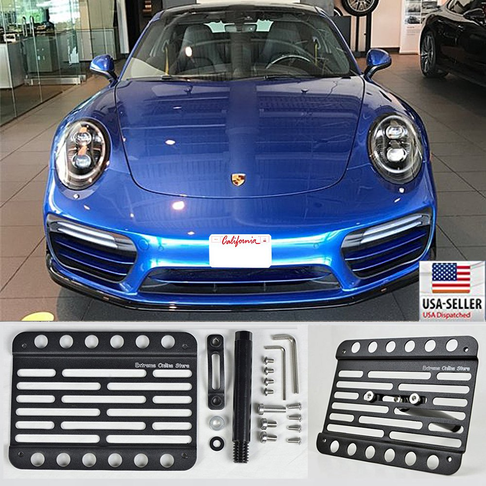 Amazon.com: for 2014-Up Porsche 911 991 Carrera Turbo (with PDC) Front Bumper Tow Hook License Plate Bracket and Extension: Automotive