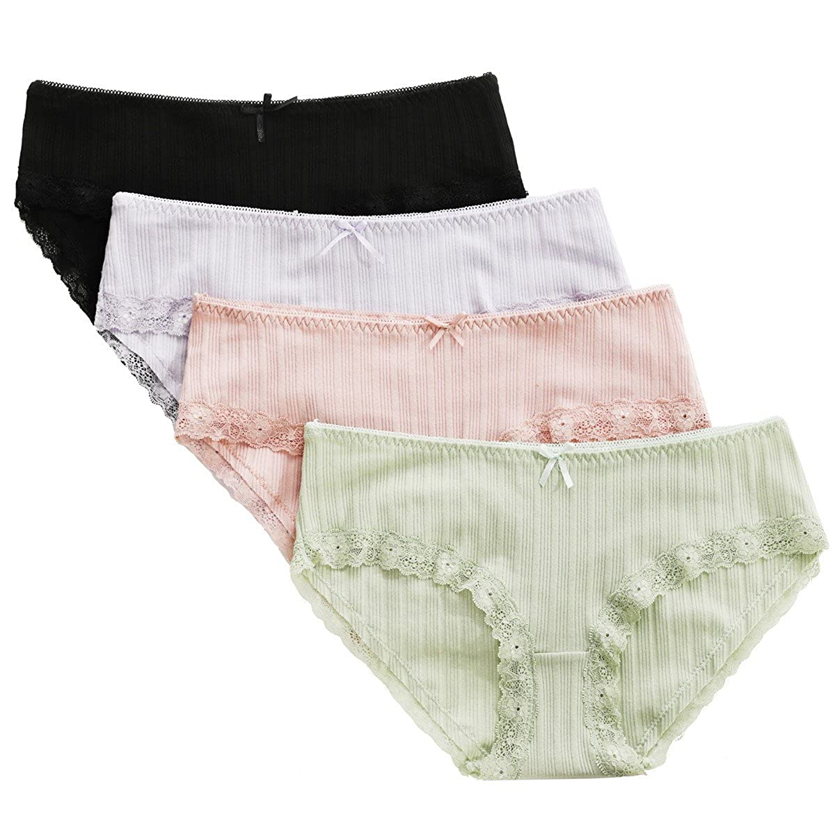 ATTRACO Women's Cotton Brief Panties Soft Underwear Lace Trim 4 Pack
