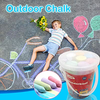 Jiechu Jumbo Sidewalk Chalk Sets for Kids Boys Girls Toys Gifts - Large Sidewalk Chalk Bucket Bucket Outdoor Home Party Favors - Bright Colors, Non Toxic, Dustless: Sports & Outdoors