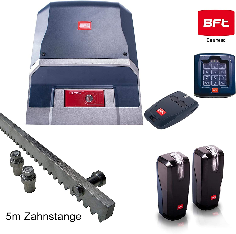 BFT ARES - Kit de accionamiento para puertas correderas (1000 kg, incluye candado, emisor manual, barra de 5 m y barrera de luz)