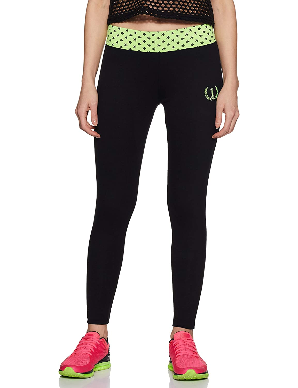 e4a5c00ba90 ONESPORT Women s Cotton Black + NEON Green Tights(ONSP6BG-P)  Amazon.in   Clothing   Accessories