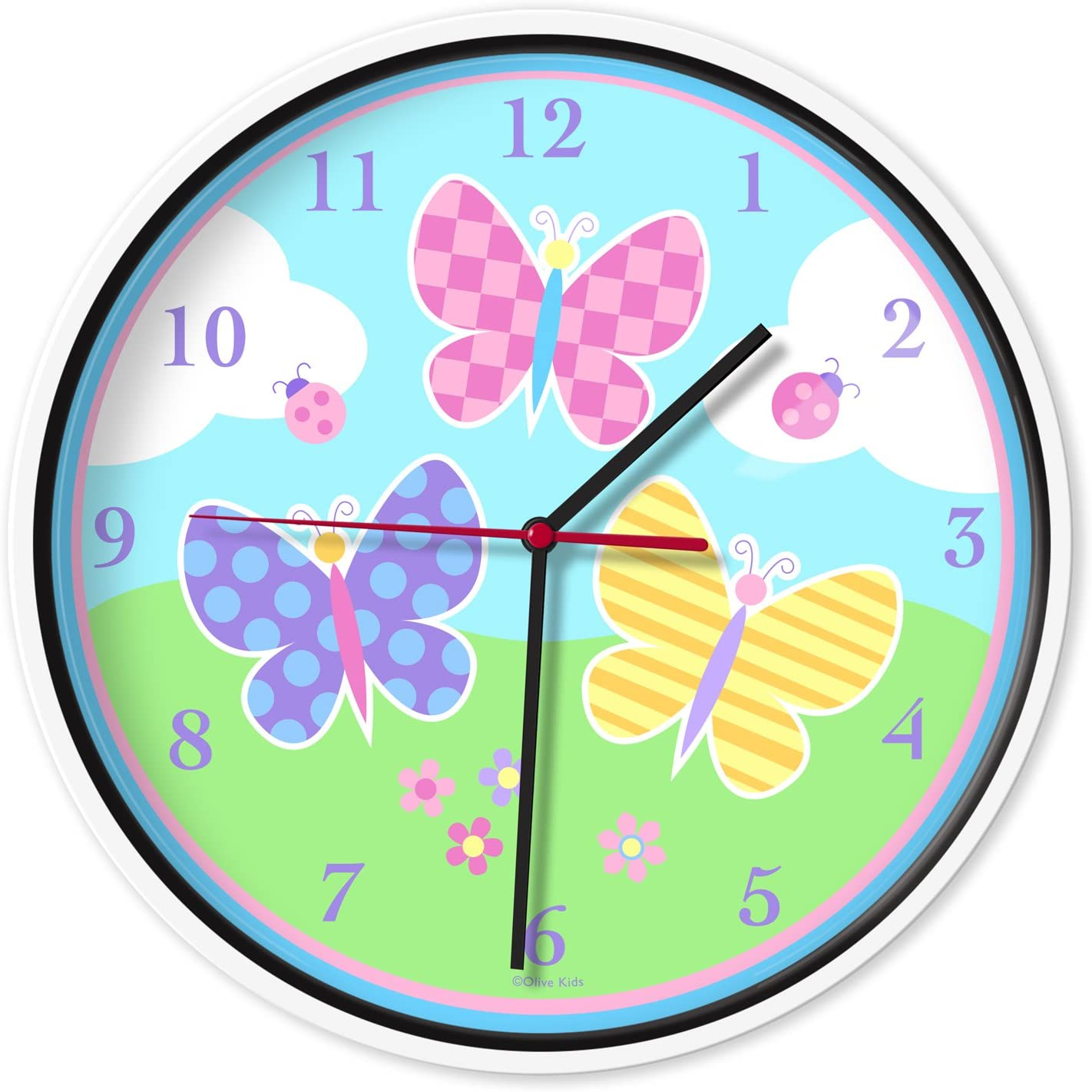 Wildkin Kids Wall Clock for Boys and Girls, Features Silent Quartz Movement, Glass and Durable Plastic Cover, Battery Not Included, Measures 12 x 1.63 x 12 Inches,BPA-free,Olive Kids(Butterfly Garden)