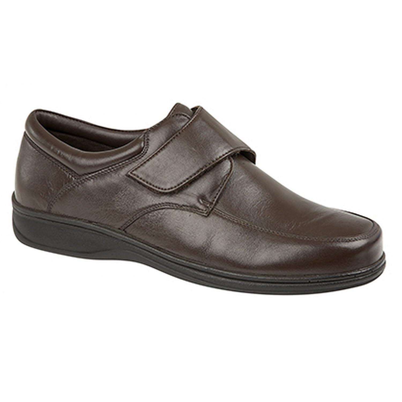 7d2102a130f24 Roamers BECK Mens Leather Wide E Fit Velcro Shoes Black