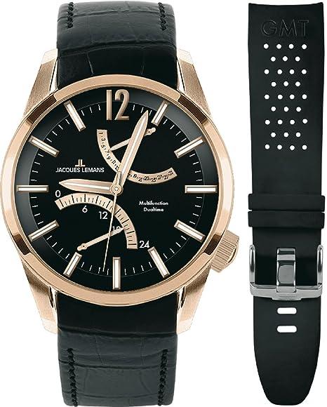 JACQUES LEMANS Liverpool GMT 1-1583G - Reloj de caballero de cuarzo, correa de