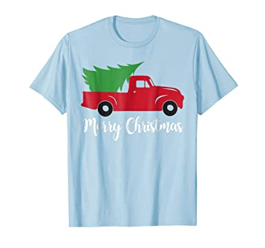 mens vintage red truck merry christmas t shirt christmas tee 2xl baby blue