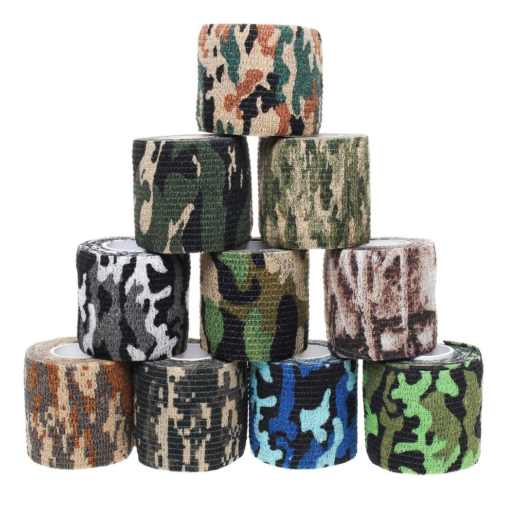 10 Rolls Camouflage Tapes, Sicai Self-adhesive Non-woven Outdoor Camouflage Tapes, 10 Styles