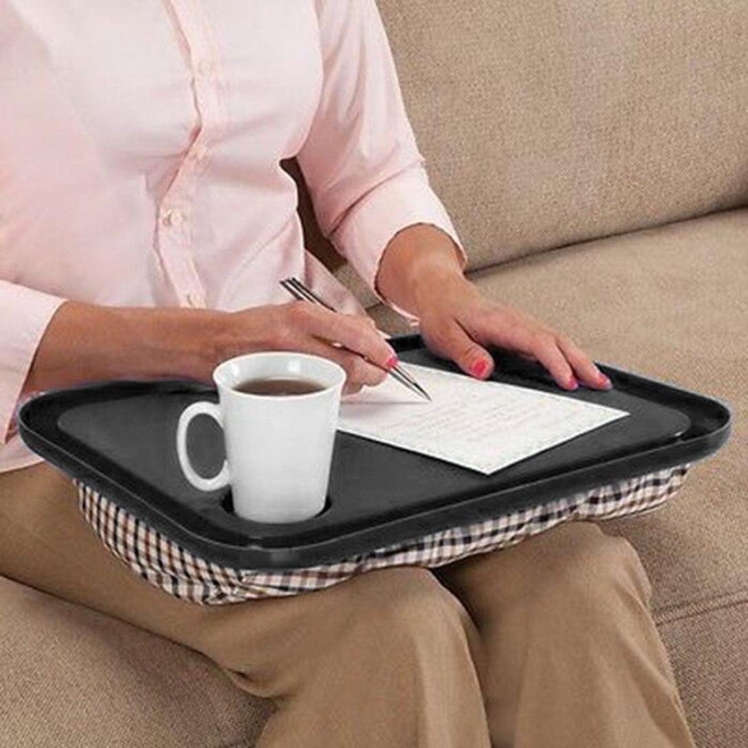 Oksale Lap Desk For Laptop Chair Student Studying Homework Writing Portable Dinner Tray, 17'' X 13'' X 2.5'' (Black) by Oksale® (Image #1)