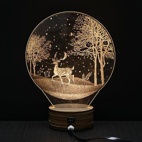 3D illusion Visual Night Light Warm White LED Table Desk Lamp Decor Home Bedroom