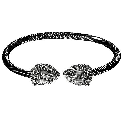 JewelryWe Schmuck Herren Armband, Gegenüber Löwe Kopf Draht Kabel ...