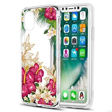 coque iphone xs transparente fleurs