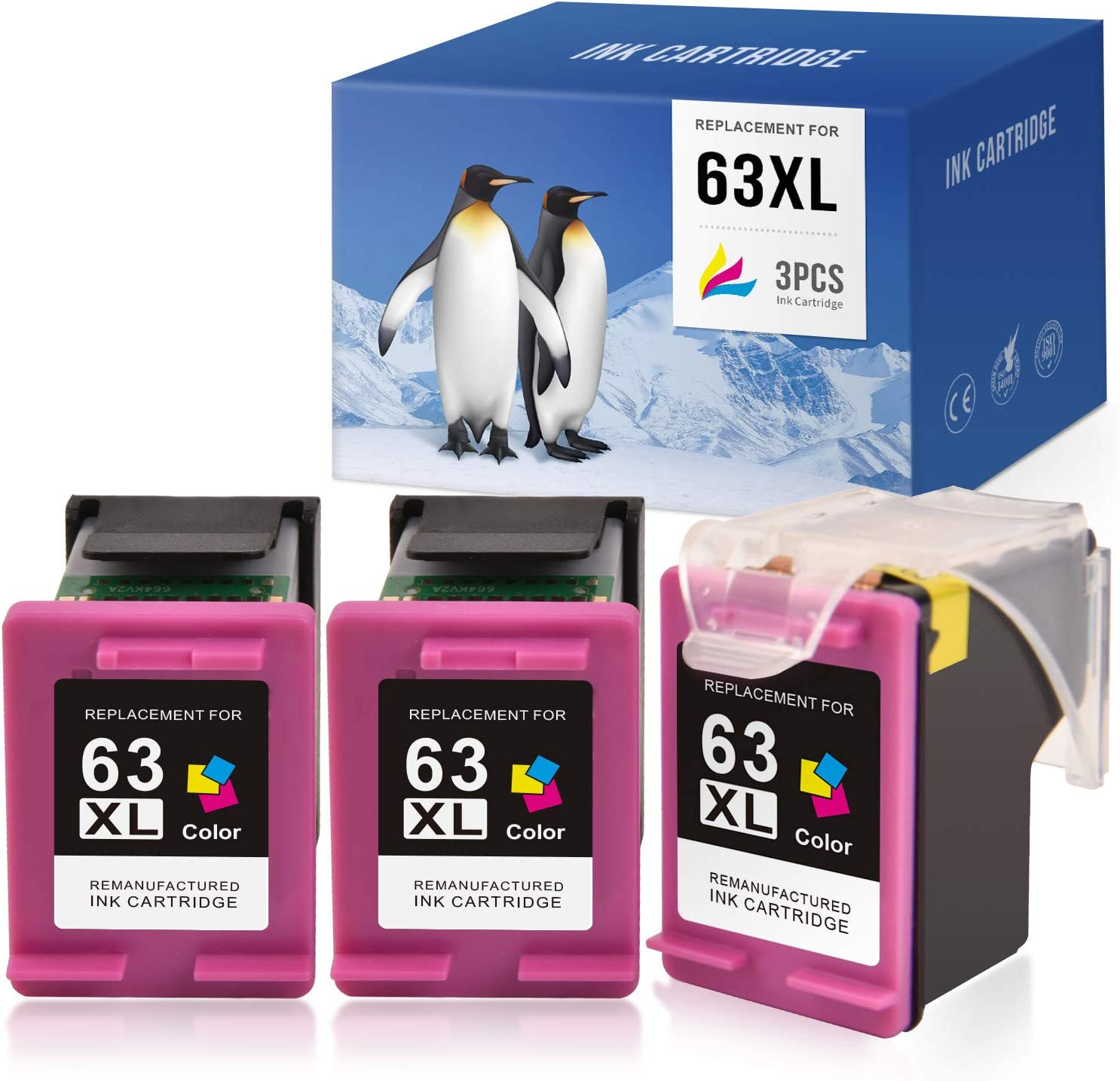 SAILNER Remanufactured Ink Cartridge Replacement for HP 63 63XL 63 XL Eco-Saver use with OfficeJet 3830 5255 5258 4650 4655 Envy 4520 4512 DeskJet 1112 1110 3632 3630 (Tri-Color, 1+2 Pack)