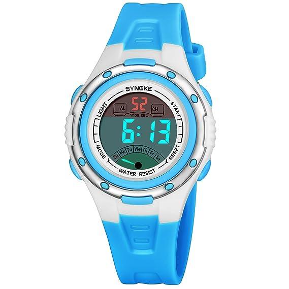 Reloj digital para niños Niños Niñas Deportes Relojes impermeables con alarma Recordatorio cronómetro Reloj de pulsera infantil para niños para niños: ...