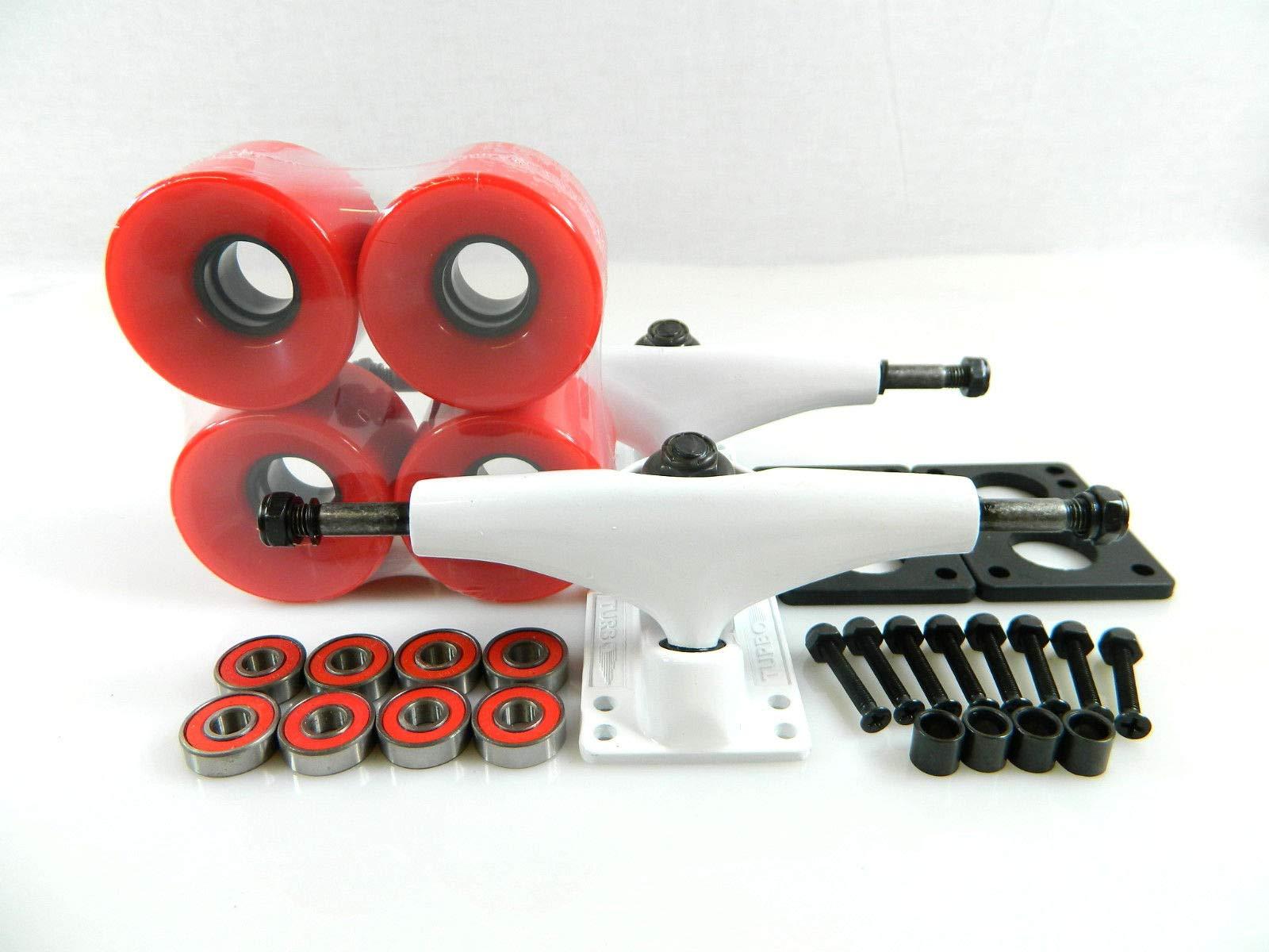 Red Turbo 5.0 Wht Skateboard Trucks + 60Mm Cruiser Wheels + Abec7 Bearings Riser Pad