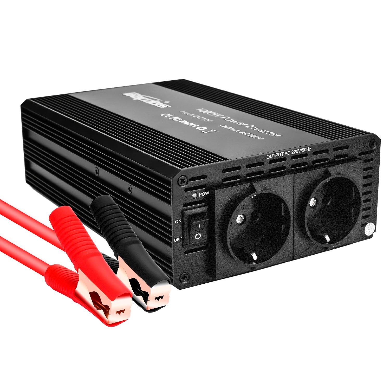 Bapdas 1000 W voiture onduleur DC 12V /à 110V 2 prises de courant alternatif accueil voiture RV solaire puissance Converte