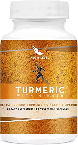 High Level Ultra Premium Turmeric Ginger BioPerine 60 Vegetarian Capsules Top Vegan Natural Joint Pain Relief, Anti-Inflammatory, Antioxidant Anti-Aging Bioperine for Best Absorption
