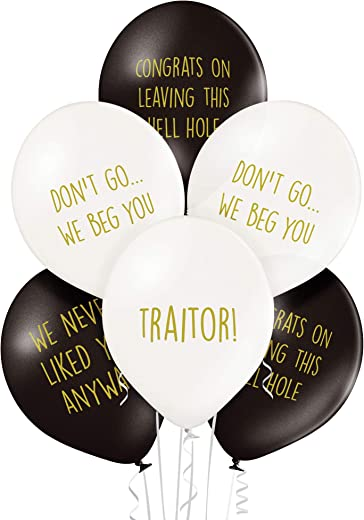 Office Leaver Funny Balloons - Pack of 12 Premium White and Black Balloons - Perfect for A Colleague Or Co-Worker