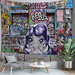PuzCub Colorful Hip Hop Tapestry Street Culture Graffiti Style Beach Blanket Wall Hanging Home Décor for Bedroom Dorm Rooms Apartments Living Rooms