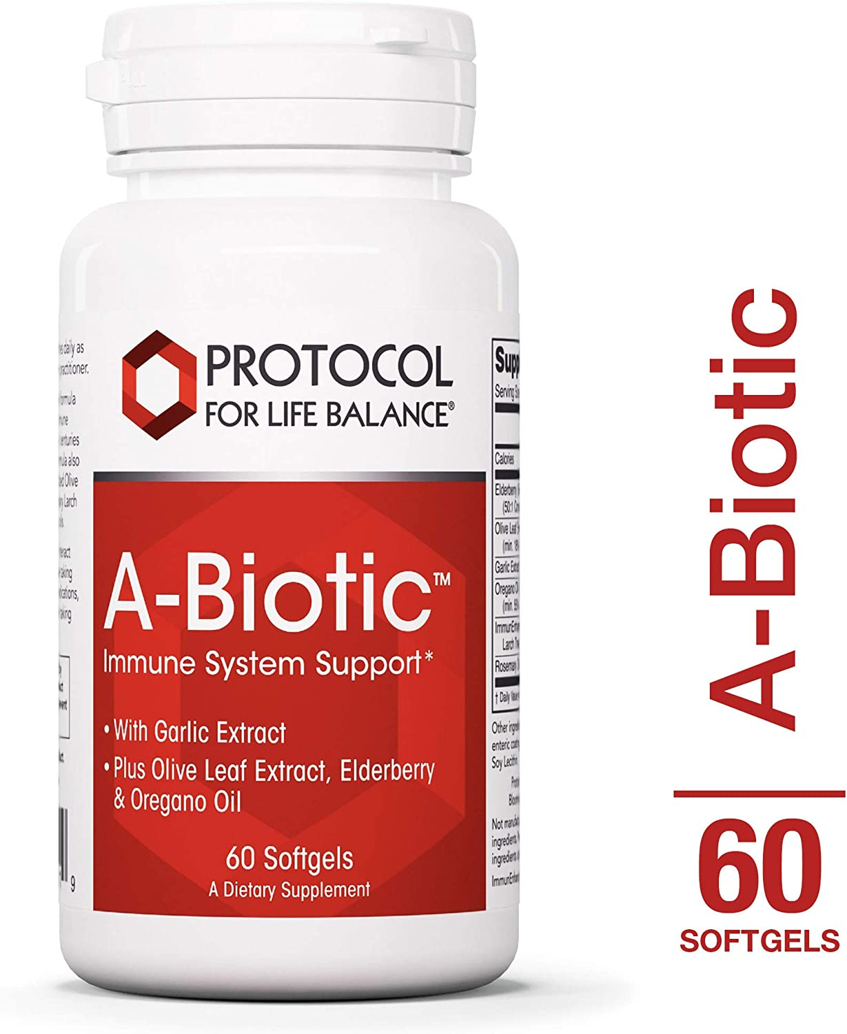 Protocol For Life Balance – A-Biotic – Immune System Support, Healthy Digestion, with Garlic, Olive Leaf, Elderberry Oregano Oil – 60 Softgels