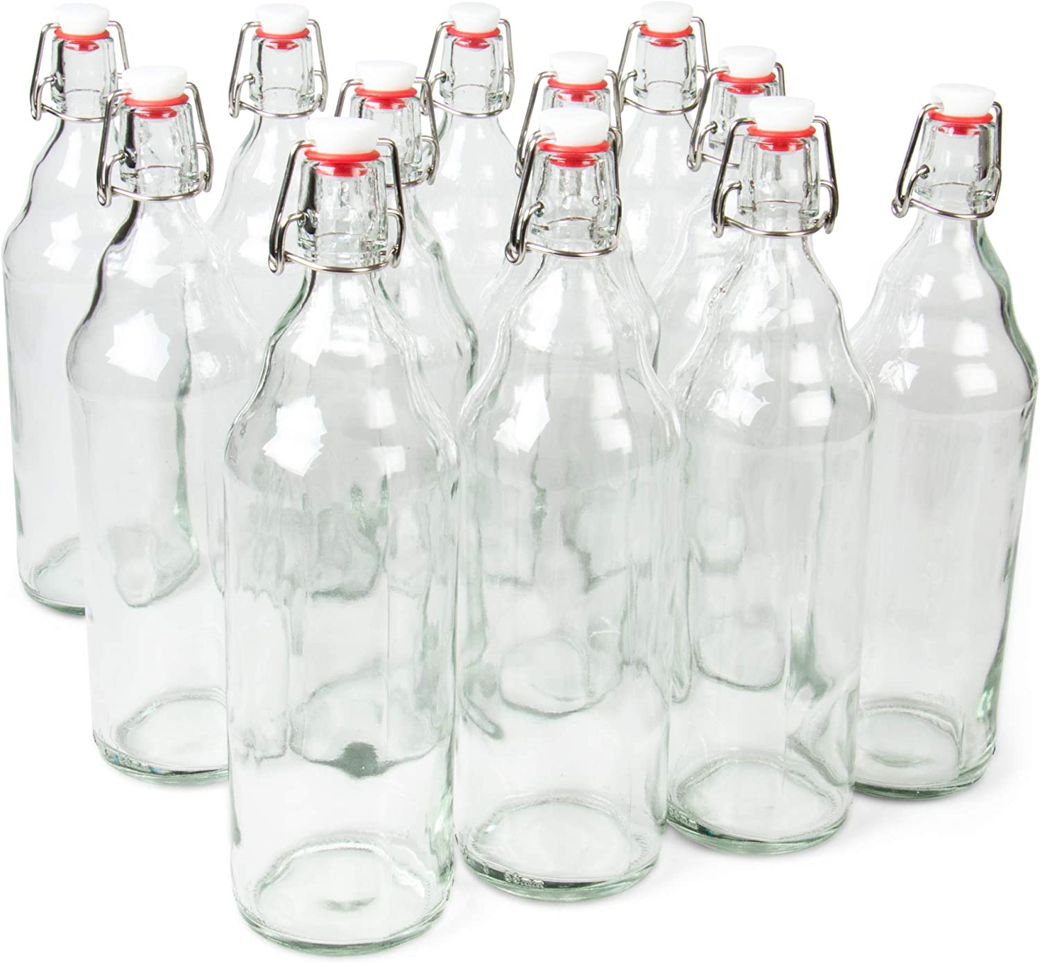 33 oz. Clear Glass Grolsch Beer Bottles, Quart Size – Airtight Seal with Swing Top/Flip Top - Supplies for Home Brewing & Fermenting of Alcohol, Kombucha Tea, Wine, Homemade Soda (6-pack)