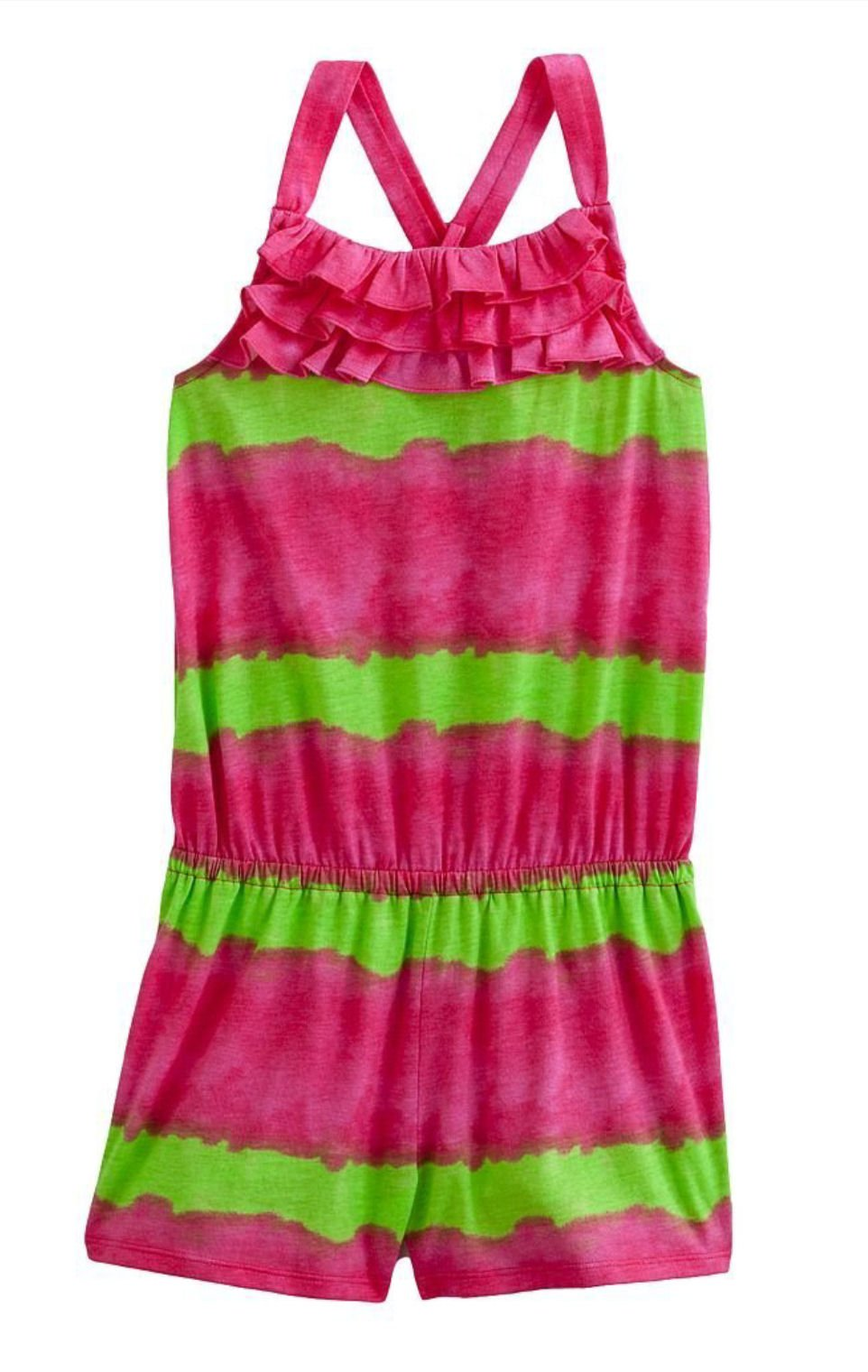 Chaps Little Girls Water Color Ruffle Romper 4 Pink Green