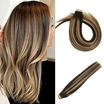 Misstar Balayage Ombre Medium Brown To Caramel Blonde Tape In Remy Human Hair 20pcs 50g 20
