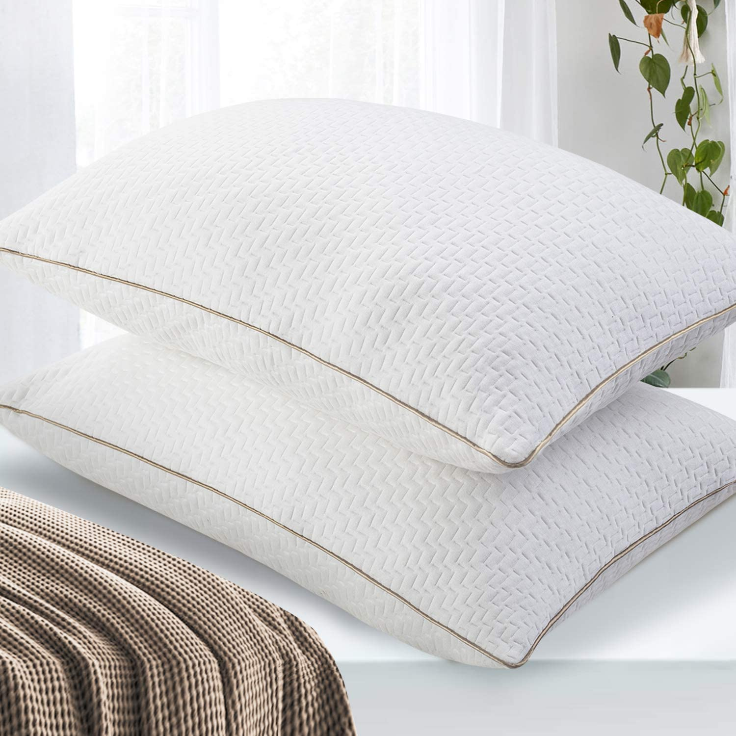 Standard Size Bed Pillows with Bamboo Fiber Cover BedStory Pillows for Sleeping 2 Pack Luxury Down Alternative Pillow Inserts for Side and Back Sleepers Machine Washable /& Hotel Quality