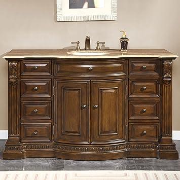 Silkroad Exclusive Travertine Top Single Sink Bathroom Vanity With  Furniture Cabinet, 60 Inch