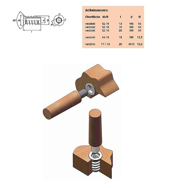 M8 Innengewinde 24 mm RONIN FURNITURE FITTINGS/® 100 St/ück Einschraubmuffe verzinkt Einschraubmutter mitKragen
