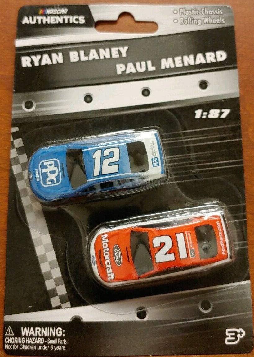 2019 Authentics Ryan Blaney /& Paul Menard 1:87 Scale Nascar Diecast 2 Pack