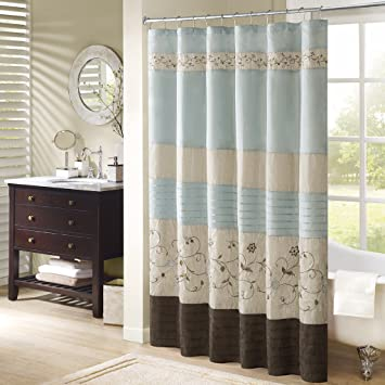 Serene Embroidered Shower Curtain Blue 72x72u0026quot;