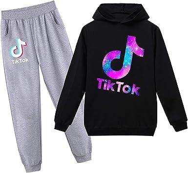 Xiakolaka Tik Tok Pullover Hoodie Suit Novelty Fashion Sweatshirt Set 2 Piece Tik Tok Clothes for Girls Boys