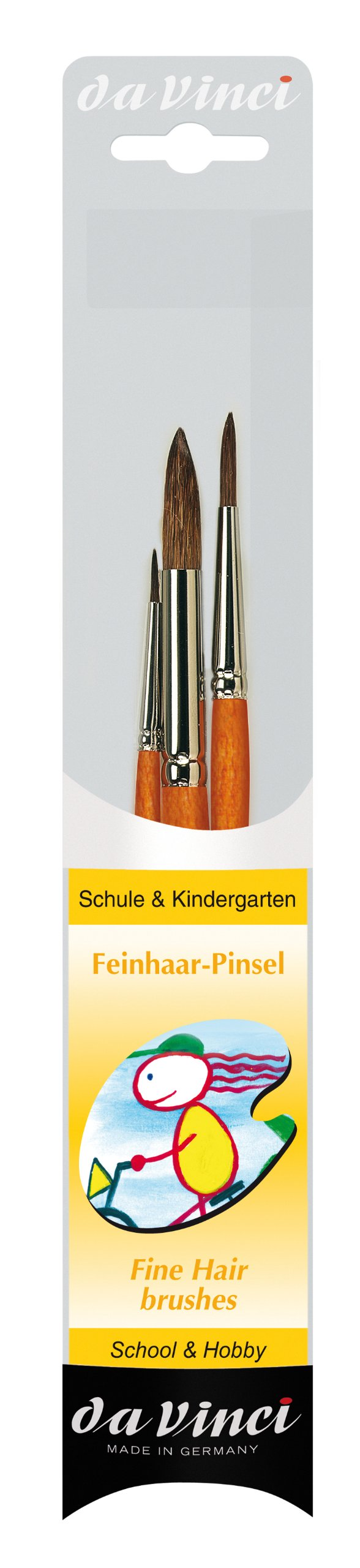 da Vinci Watercolor Series 4205 School and Kindergarten Paint Brush Set, Natural Hair, Multiple Sizes, 3 Brushes (Series 320SF)