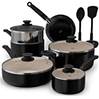 Cook Code Pots and Pans, White Ceramic Coating Nonstick Aluminum Cookware Set with Glass Lids and Nylon Utensils, Sauce…