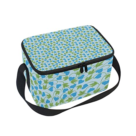 705d11816f1f Amazon.com: Lunch Box Blue Floral Pattern Small Womens Insulated ...