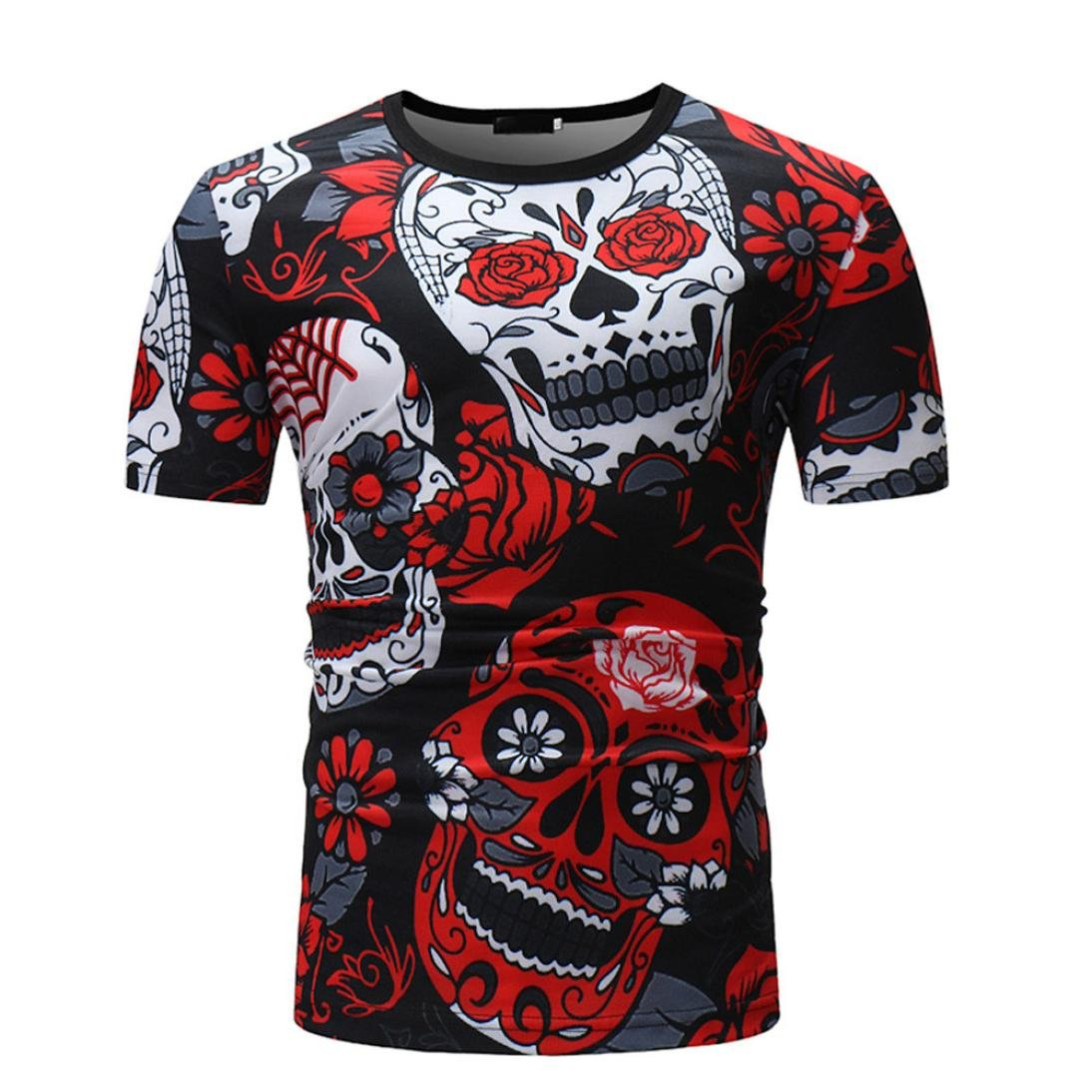Zulmaliu Men Tee Shirt, Smiling Skull with Red Rose T-Shirt Cool Sportwear Outfit